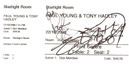 Autographed Paul Young and Tony Hadley ticket